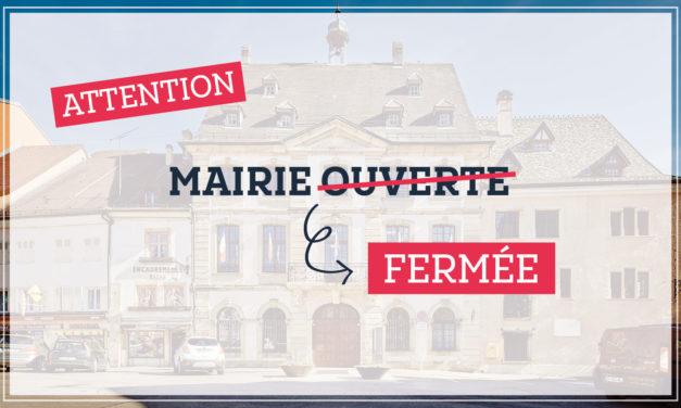 Août 2019 : quelques jours de fermeture pour la Mairie
