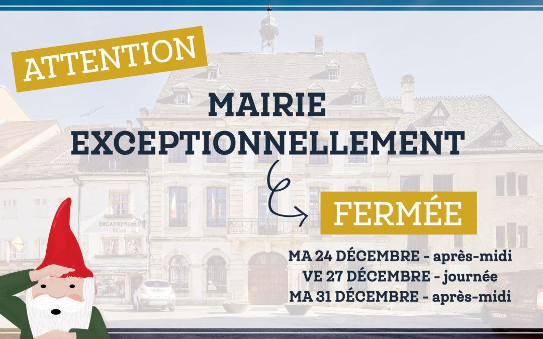 Mairie : fermetures exceptionnelles pendant les fêtes 2019