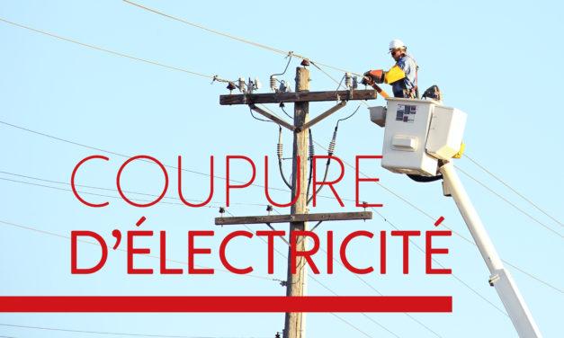 MA 27 JUIL 2021 : Coupure d'électricité pour travaux